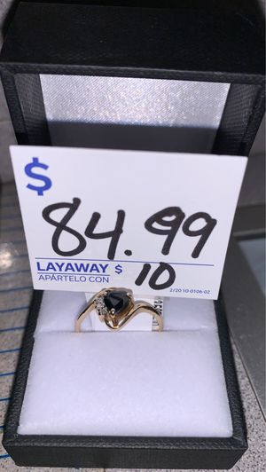 14K Yellow Gold Black Heart Ring for Sale in Houston, TX