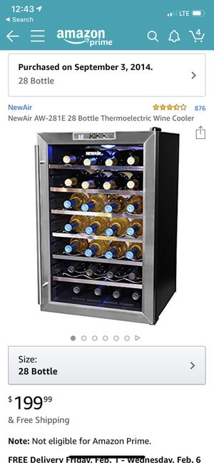 NewAir Thermoelectric Wine Cooler - 28 bottle for Sale in Seattle, WA