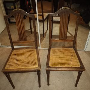 Antique Vintage Wooden Chairs With Wicker Seats for Sale in Houston, TX