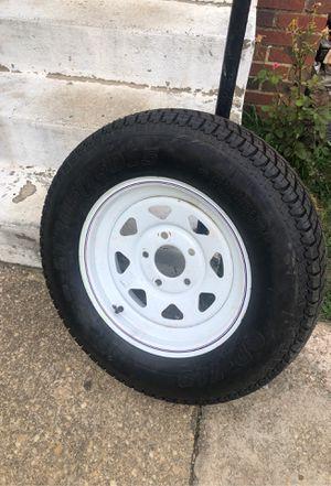 """One"" ST205/75D15 Radial Trailer Tire w/ 15"" White Spoke Wheel for Sale in Mount Rainier, MD"