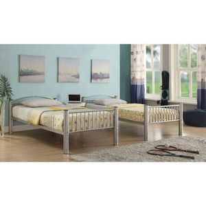 SILVER FINISH METAL FRAME TWIN OVER TWIN SIZE BUNK BED / LITERA CAMAS MUEBLES for Sale in Hemet, CA