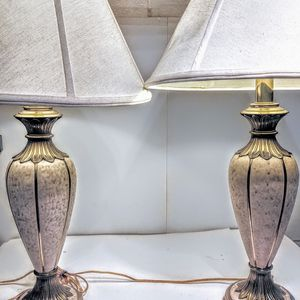 Pair Of Vintage Ceramic And Brass Rembrandt Table Lamps for Sale in Kirkland, WA