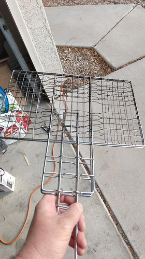 BBQ food clamper also works over open fire as a grill basket mesh wire food holder meats or vegetables or whatever for Sale in Gilbert, AZ