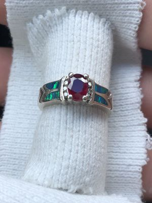 14K Natural 1.15ct Ruby and Diamond Accent Opal Inlaid Ring for Sale in Dearborn, MI