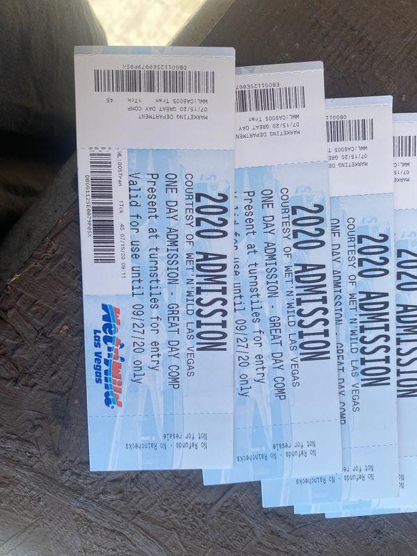 Wet N wild tickets (15$ each)