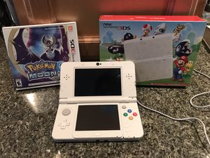 New Nintendo 3ds super Mario white special edition + Pokémon moon for Sale in Dearborn, MI