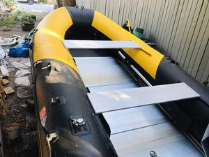 Boat with aluminum floor 13' + custom made trailer + air pump for Sale in Redmond, WA