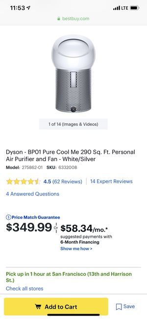 Dyson pure and cool me for Sale in San Francisco, CA