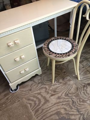 Refinished Desk and elegant Tiled Chair for Sale in Roscommon Township, MI