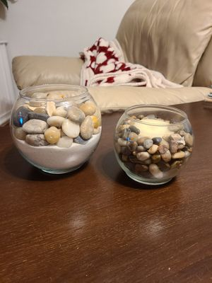 Sand & River Rocks and River Rock candle holder for Sale in South Norfolk, VA