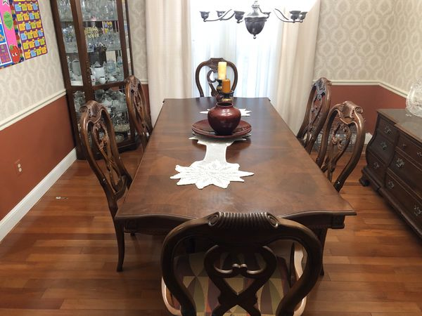 Dining room set with buffet table