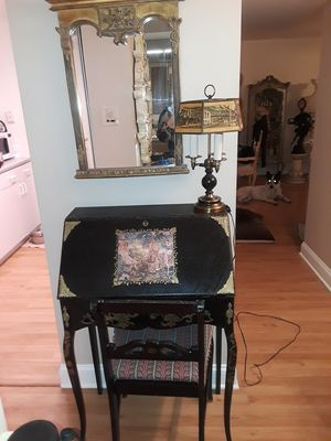 Antique Secretary Desk , Cheer ,lamp and mirror .W-26 ,deep 15 , high 40 , can be sold superetly for Sale in Willowbrook, IL