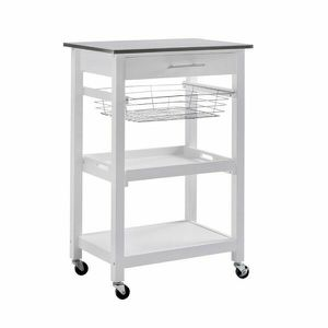 Sunjoy Rolling Kitchen Island Cart Modern with Storage Shelf and Stainless Steel Top 120306011 for Sale in Santa Ana, CA