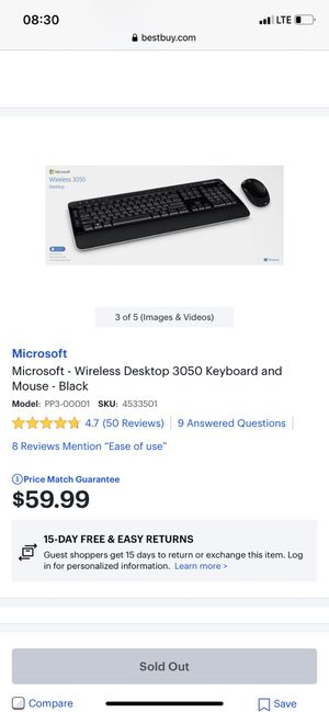 Wireless Keyboard and Mouse - Black for Sale in Quincy, MA
