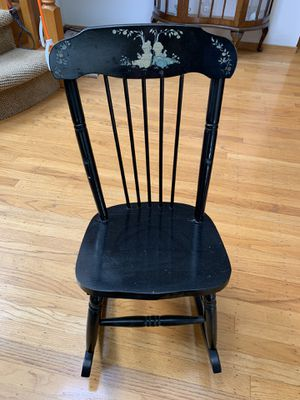 Antique Vintage Child's Black Wooden Musical Rocking Chair for Sale in Newark, CA