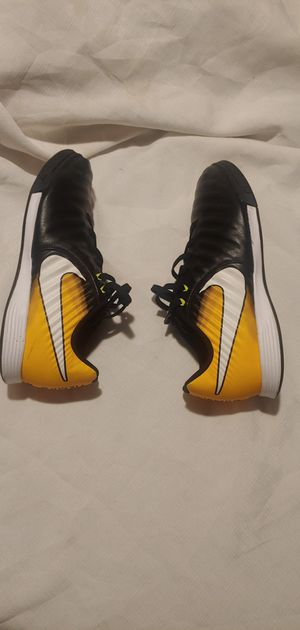 Boys tiempo x black and yellow nike Soccer cleats size 5.5 for Sale in Sacramento, CA