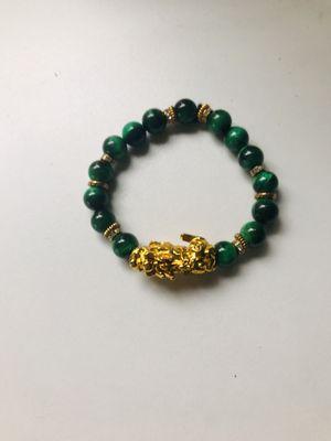 """Inspired by Rachel Ganz"" Original designed Karma Bracelet in natural green malachite for Sale in Beverly Hills, CA"