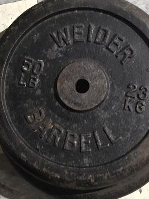 Over 300lbs Standard plates i take trades for olympic weights set for Sale in Detroit, MI