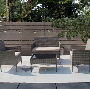 New Gray Rattan Wicker Table Chair Sofa Set for Sale in Houston, TX