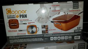 9.5 square Copper casserole 5pcs pan for Sale in Los Angeles, CA
