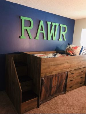 KIDS TWIN LOFT BED WITH 3 DRAWER DRESSER INCLUDED $400 OBO!!! for Sale in North Olmsted, OH