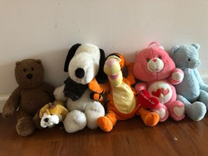 6 Stuffed Animals Snoppy, Tigger and Care Bears for Sale in Burlington, NJ