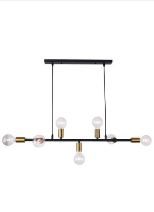 Lingkai Modern Chandelier Kitchen Island Light 7-Light Pendent Hanging Lighting Ceiling Light Black with Antique Brass Socket Finish for Sale in La Puente, CA