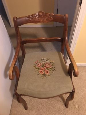 Antique chair with original embroidery for Sale in Olympia, WA