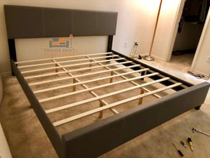Brand New King Size Grey Leather Platform Bed Frame for Sale in Silver Spring, MD
