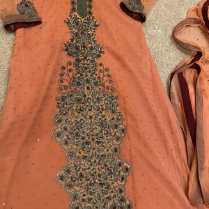 Three Piece Wedding Wear Peach Color With Stone Work for Sale in Ashburn, VA