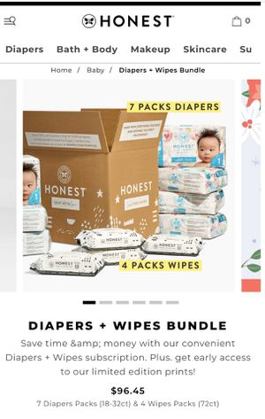 Honest brand Newborn size Diapers + Wipes Bundle for Sale in Boerne, TX