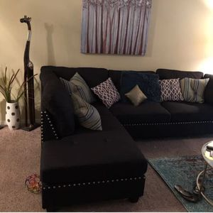 Brand new black linen sectional sofa with ottoman for Sale in Silver Spring, MD