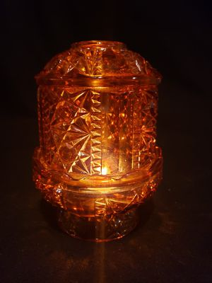 Large Amber Glass Tiara Fairy Lamp, Mint Condition! Star Pattern. for Sale in Fort Meade, MD