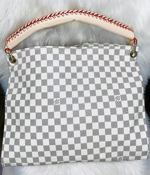 Beautiful gray and ivory checkered purse braided handle for Sale in Chandler, AZ