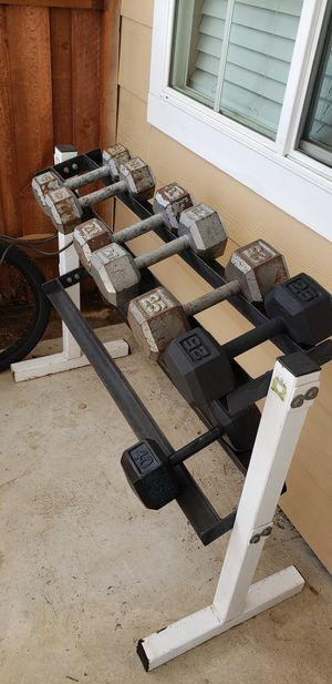 Dumbbells, ez curl bar, weights, dumbbell stand for Sale in Huntington Beach, CA