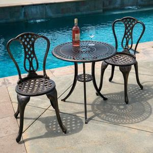 SHIPPING ONLY 3 Piece Patio Furniture Bistro Set Cast Aluminum w/Chairs and Table for Sale in Las Vegas, NV