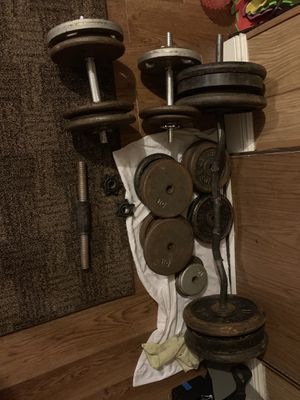 450lbs+ weights + 4 dumbbells + ez curl bar for Sale in Dover, FL