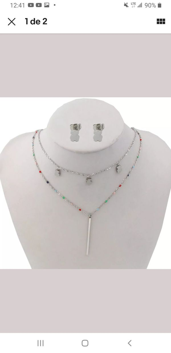 New Set necklace and earrings stainless steel