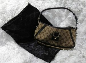 🌺 Gucci Leather Gg Monogram D-ring Brown Canvas Tote🌸 for Sale in Upland, CA