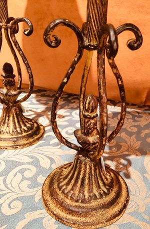 Beautiful bronze cast art candle holder; elegant, vintage style item; H10.5x6 inch for Sale in Chandler, AZ
