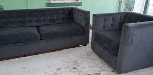 Velvet fabric couch and swivel sofa for Sale in El Paso, TX