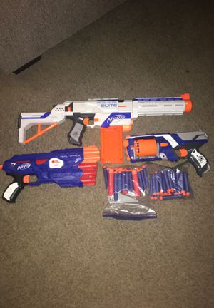 3 Nerf Guns (Strongarm, Dual-Strike, and Retaliator Elite) Bullets Included for Sale in Chandler, AZ