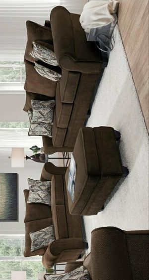 Nice chocolate sofa and loveseat with ottoman for Sale in Houston, TX