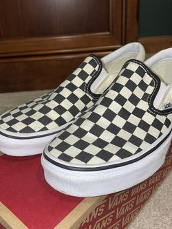 Classic Slip On Black And White Checkerboard Vans Size 8 for Sale in Lombard,  IL