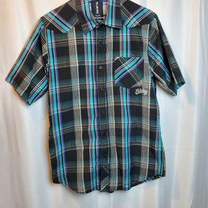 Billabong Men's Multicolor Plaid Button Up Short Sleeve Shirt Size Large for Sale in Adelanto, CA