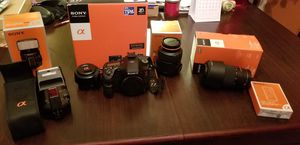 Sony SLT-a77v w/ lenses for Sale in Durham, NC