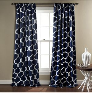 NEW Geo Blackout Navy Pattern Window Curtain Set of Two 52x84 Room Darkening for Sale in Martin, TN