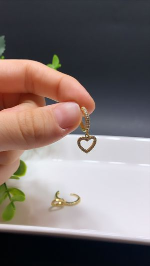 18k Gold Plated Full Rhinestone Circle Heart Clip on Huggie Hoop Earrings for Sale in Los Angeles, CA