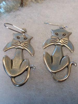 Sterling silver cat earrings for Sale in Willow Street, PA