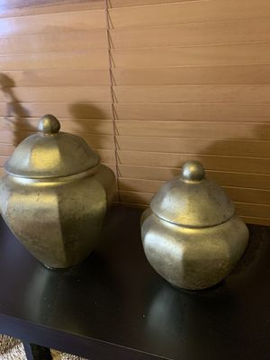 Home Decors Two Cute Gold Colored Jars. 🏺⚱️🏺 for Sale in Miami Gardens, FL